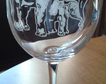 Elephant Mother and Baby Hand Engraved Wine Glass