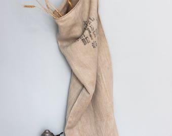 Antique timeworn Austrian grainsack  printed, handloomed linen, herringbone,grainsack, tablerunner, upholstery project, cushions,