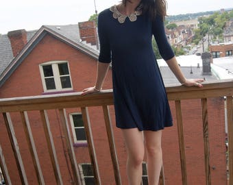 Vintage Swing Dress with Crochet Collar