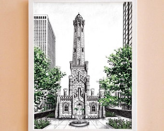 Water Tower Illustrated Print