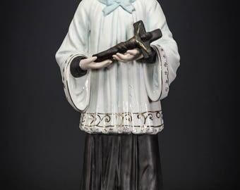 """RARE 13"""" Saint Aloysius de Gonzaga Antique Bisque Porcelain Statue St Figure"""