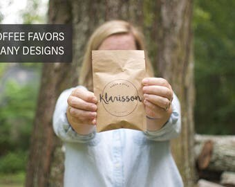 Wedding Party Favors | Coffee Favor Bags | Coffee Wedding Favors | Coffee Favors | Personalized Favors | Rustic Wedding Favors | Favors