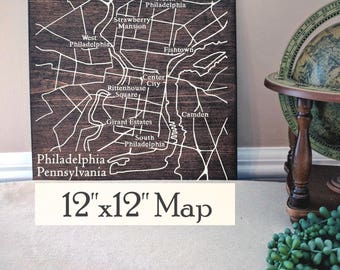 Philadelphia Map, Large Wood Map, Philadelphia City Map, Philadelphia Wall Art, Wood Map, Personalized Map, Custom City Map by Novel Maps