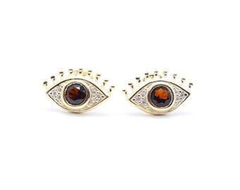Gold Plated Sterling Silver Zirconia Stud Eye Earrings