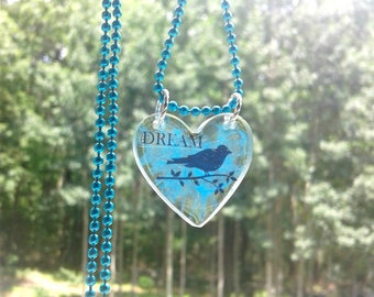 Heart Shaped Dream Necklace, Bird on a Branch, Electric Blue and Black, Ball Chain, Transparent Jewelry