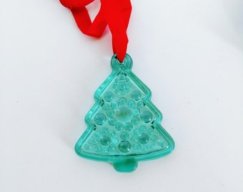 Vintage Hadeland Christmas Ornament - Green Full Lead Crystal Christmas Tree - Made in Norway - In Original Box with Hand Written Note