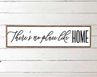 There's no place like Home | Home Sign | Nothing Like Home | Farmhouse Sign | Framed Wall Art | Rustic Decor | Wooden Signs | Happy Place