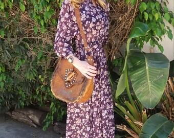 Vintage 70's/ 80's floral drawstring waist dress