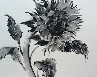Sunflower Japanese ink painting Suibokuga Sumi-e Japanese art Rice paper BlackWhite Picture as a gift Painting for interior Summer