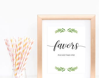 Green Baby Shower Favors Sign Please Take One Sign Favors Sign Baby Shower Botanical Baby Shower Signs Green Foliage Baby Shower Decor GL1