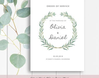 Wedding booklet etsy eucalyptus booklet wedding program template order of service booklet printable wedding program template diy pronofoot35fo Choice Image