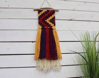 Woven Wall Hanging, Geometric Tapestry, Weaving