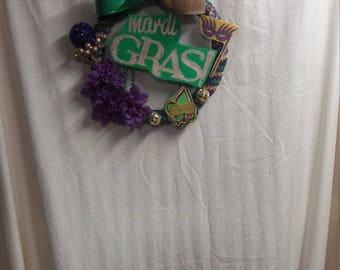 Mardi Gras decoration, Mardi Gras Wreath, Mardi Gras decor, Mardi Gras wall hanging, 12 x12
