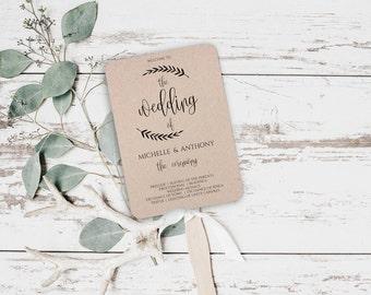 Wedding Fans Program Rustic Fan Printable Template