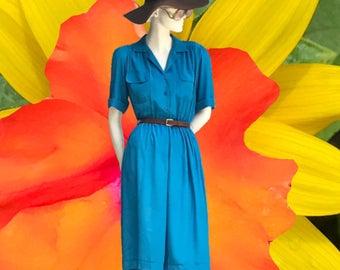 Vintage 80s blue dress