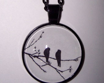 Black & White Silhouette Birds Pendant Necklace