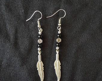 Feather Rose Silver Dangling Earrings