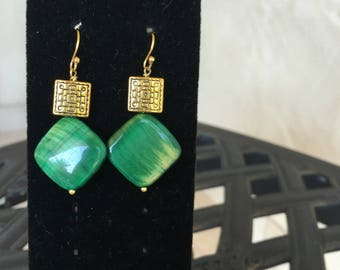 Green Tiger Eye Earrings by Dobka