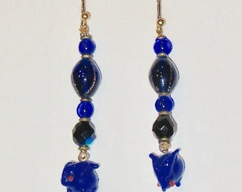 Cobalt Blue Rabbit Earrings