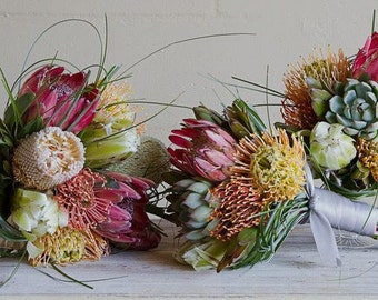 Tropical  Assorted Protea Hand Tied Bridal Bouquet