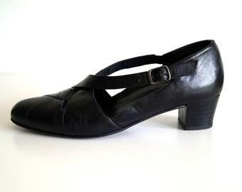 SKONA MARIE shoes Womens Leather shoes Genuine leather classic Elegant shoes Eur 39 Black Sandals medium high heels Shoes Womens Sandals