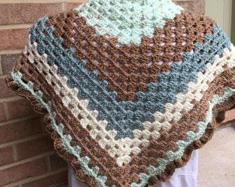 Crochet Shaw with ruffle edging, Handmade