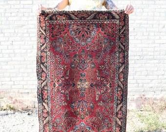 Persian / Sarouk Rug - Antique Wool - 3.9' x 2.4' - FREE SHIPPING