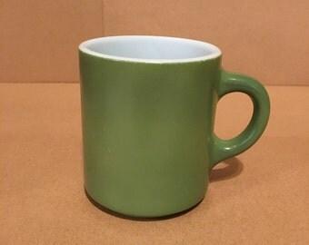 Avocado Green Vintage Milk Glass Coffee Cup