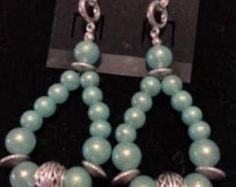 Light Green Dangle Earrings with Silver Rondelles