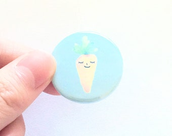 carrot button, superfood, vegan pride, veggie, gift for her, for him, accessories, pinback, 1.25