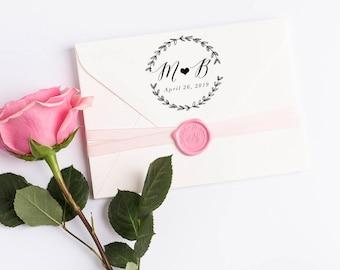 Monogram Wedding Stamp, Wedding Favors, Wedding Favor Stamp, Wedding Logo Stamp, Custom Stamp, Rubber Stamp, Save the Date Stamp No7