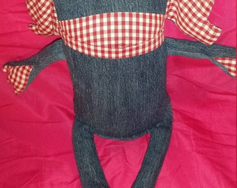 Picnic, monster; handmade plushie; collectable; gift; denm; gingham