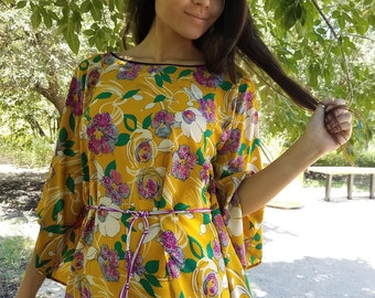 Mimosa, womens clothing, womens tops, bohemian, hippie, caftan, silky,