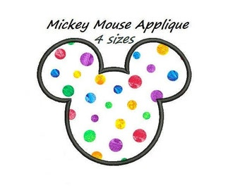 Mickey Mouse Applique Design - 3,4,5,6 inch instant download