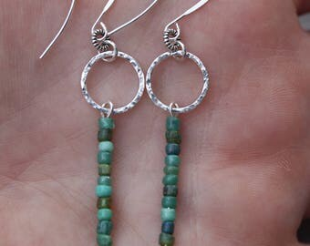 Hammered circle & matchstick earrings