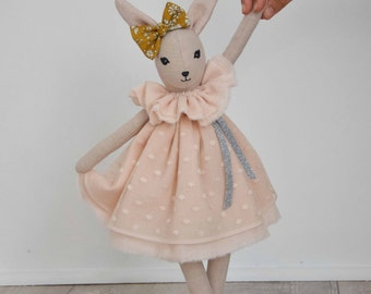 The Robert Zeline: sand washed linen doll and dress in nude tulle dots cotton gauze.