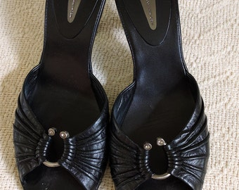 Black Leather Sandals Slides Mules Women's Size 10 M