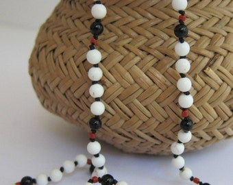 Howlite-Onyx-Coral Wrap Necklace - Genuine Gemstones & Pure Silk Thread