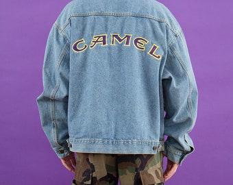 Camel, Jean Jacket, Vintage Denim, Spring Jacket, 90s Vintage, Denim Jacket, 90s Clothing, Cigarettes, Smoking, Embroidered Denim, Jacket