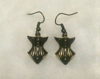 Antique gold colored Gothic or steampunk corset charm earrings