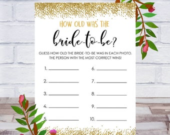 How Old Was The Bride To Be, Bridal Shower Game, Printable, Bachelorette Party, Cards, Size 5x7, Gold Confetti, Instant DIGITAL DOWNLOAD
