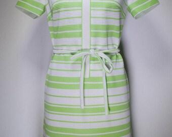 60s / 70s lime green stripe dress