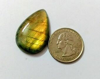 32.41 x 21.46mm,Pear Shape Labradorite Cobochon/Golden Flash/wire wrap stone/Super Shiny/ Spectrolite Cabochon/Semi Precious Gemstone/labr