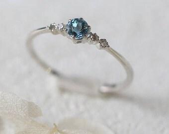 18k Diamond Ring with aquamarine. natural intense aquamarine ring. delicate ring as stackable ring. birth stone ring