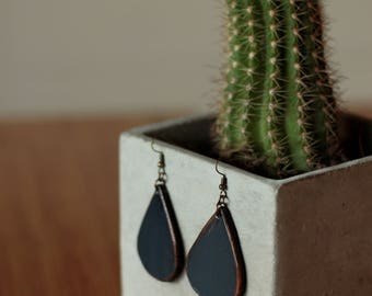 Sierra Small Navy Earrings | Leather Earrings | Birthday Gift | Anniversary | Gifts under 25 | Handmade | Gifts for Her