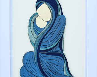 """Mother and baby - Quilling Wall Art Painting - 1/8""""(3mm) paper strips"""