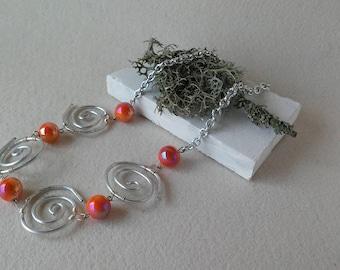 "Necklace in Wire technique ""vortexes"""