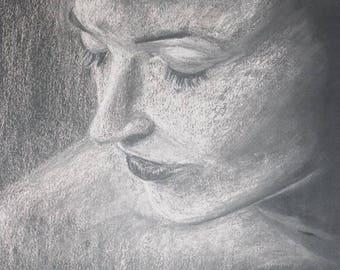 Custom portrait pastel painting ,drawing on cardboard,original portrait from photo, chalk,private portrait,velentine gift,big heart decor