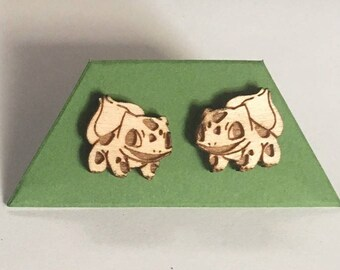 Bulbasaur or Pokeball Earrings - Laser Cut Linden Wood