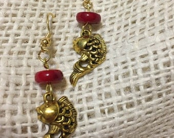 Genuine red coral and gold plated fish earrings